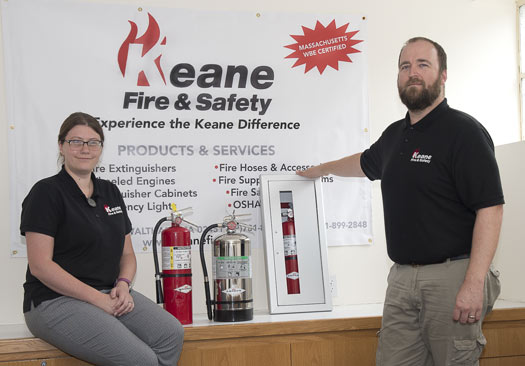 Keane Fire & Safety supplies fire extinguishers and cabinets for new and old construction